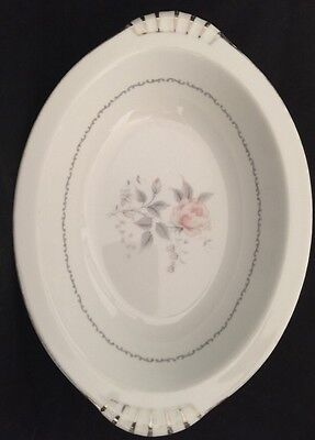"""Fair Lady by Kent China Oval Serving Vegetable Bowl 11 1/4"""" Japan Silver Floral"""