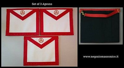 Masonic Holy Royal Arch - Member Apron Hand Embroidered - Set of 3 Aprons