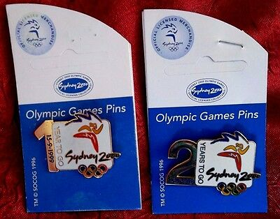 SYDNEY 2000 OLYMPIC GAMES 1 -2 YEAR TO GO 15-9-1999 and 15-9-1998 PIN BADGE SET