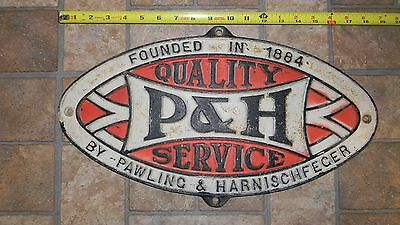 P&h Service - Pawling & Harnischfeger Cast Iron Sign