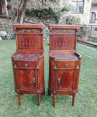 Rare Antique PAIR French Louis XVI Nightstand Marble Top & Inlaid Bronze inserts