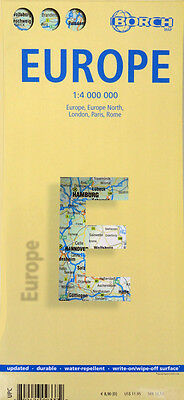 NEW 2007 MAP OF EUROPE, Borch~Index & Details of London, Paris & Rome~Waterproof