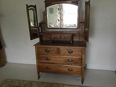 Antique Satin Walnut Dressing Table In Excellent Condition Collection/Courier