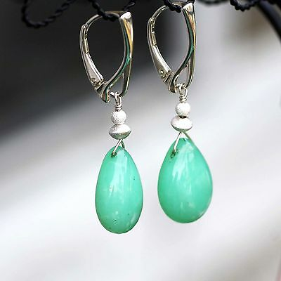 Large Natural Green Chrysoprase Earrings Solid Sterling Silver 18th Anniversary