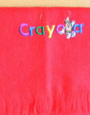 Kids winter scarf red fleece with embroidered Crayola lettering
