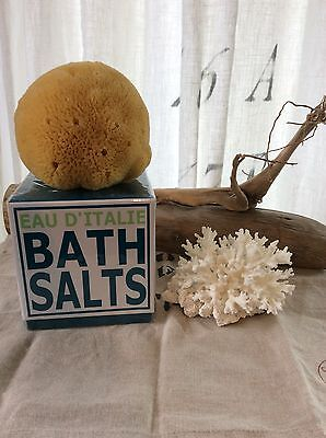 EAU D'ITALIE 500gr./17,60Oz. Bath Salts & Sea Sponge set- New