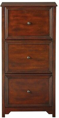 File Cabinet 3-Drawer Storage Vertical Filing Wood Home Office Oxford Chestnut