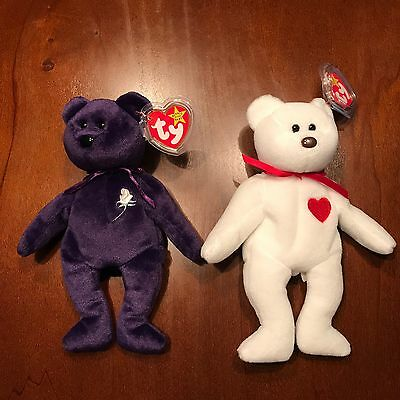 Princess Diana Beanie Baby production #472 and Valentino w/ errors VERY RARE!!