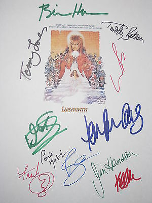 Labyrinth Signed Script X11 David Bowie Jim Henson George Lucas Frank Oz reprint