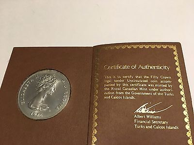 1976 Turks and Caicos Islands Victoria 50 Crown Silver Coin in Original Holder
