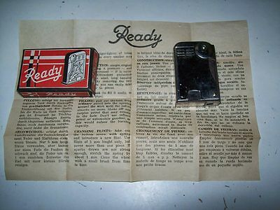 Vintage Ready Metal Petrol Cigarette Lighter With Box And Instruction Sheet