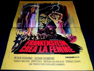 1967 Frankenstein Created Woman ORIGINAL FRENCH POSTER Terence Fisher HAMMER