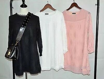 WHOLESALE New Women Italian Embroidery Lace Floral Trumpet Sleeve Top 3 Pcs MIX