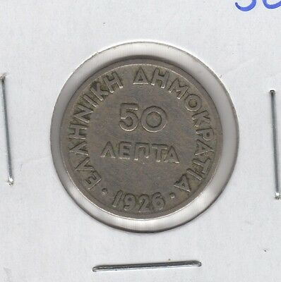 1926  Greece Greek 50 Lepta Helmeted Athena Coin