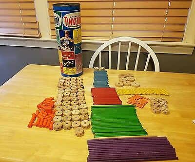 ❤Vintage Tinkertoy Giant Engineer Set no 155 by Questor 242 Pieces