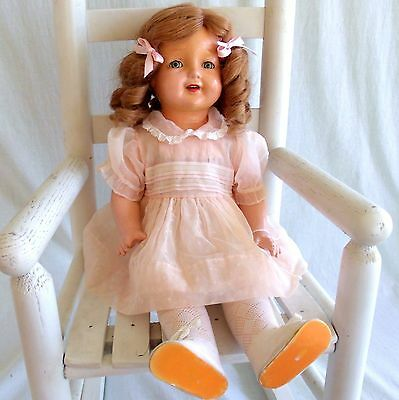 "Antique 22"" American Character Petite Composition Doll Open mouth Teeth Sleepeye"