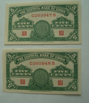 CHINA 1939 The Central Bank of China  5 Cents 1939 Consecutive No. UNC LOT of 2