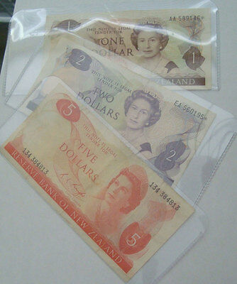 New Zealand Lot of 3 Banknotes 1x$1 1x$2 1x$5 Paper Money CIRC $1..46* and $2..*