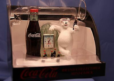 "Coca-Cola Coke Brand Collectible Mini-Clock ""Bear on Break"" 1999"