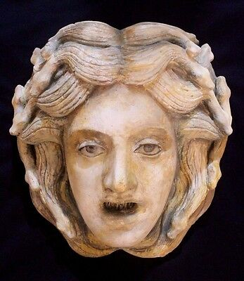 Medusa Greek Roman Large Ceramic Mask Head Plaque Athena Zeus Poseidon Apollo