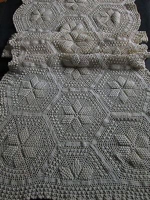 ANTIQUE HAND CROCHET RUNNER 22x56 Popcorn Star Pattern Bed Pillow Cover Vintage