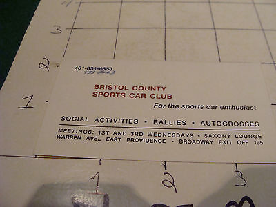 vintage paper item: BRISTOL COUNTY SPORTS CAR CLUB business card