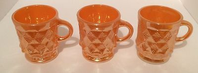 MUGS x 3 - Peach Lustre - Anchor Hocking Kimberly- Vintage - Excellent Condition
