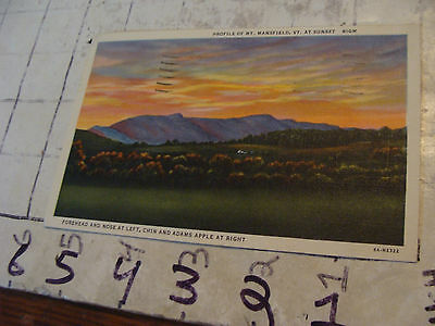 Orig>Vint>post card<PROFILE OF MT. MANSFIELD , VT at sunset 1950