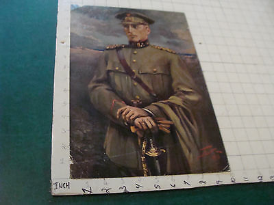 VINTAGE PRINT: 1918 textured print of ENGLISH GENERAL by CARL LOTIVE creased