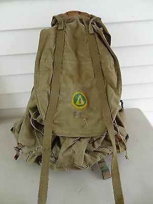Vintage Scouts or WW2 Canvas Rucksack Backpack Fitted Steel Frame, U.S. Canteen