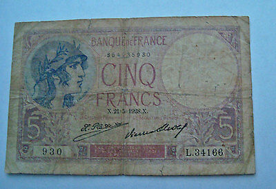 France 5 Francs 1928 in Banknote Circ G