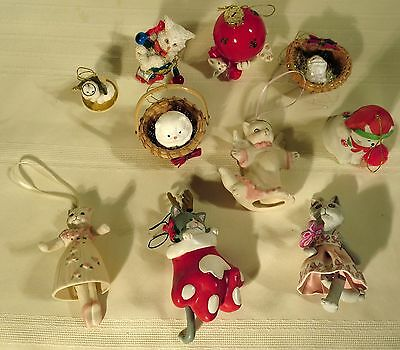 Lot of Ten Christmas Cats Ornaments