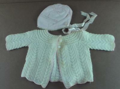 Vintage Knitted Sweater & Pink Silk Bonnet Baby Girl or Doll