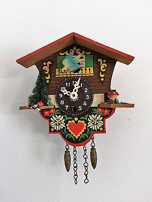"Vintage Cuckoo Clock Made in Germany Marked/ Miniature Cuckoo Clock -6.2""x4.5"""