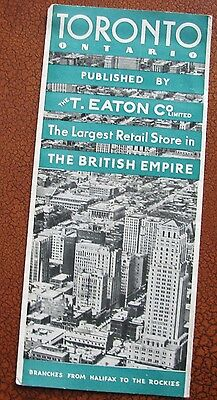TORONTO  ONTARIO - 1930s Map published by The T. Eaton Co Ltd.