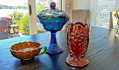 Imperial Carnival Glass - Ruby Red Sunset Vase, Green Nappy, Blue Compote w/ Lid