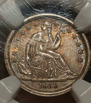 1838 Seated Liberty silver dime PQ Toning Full Luster! NGC AU-58 CAC certified!