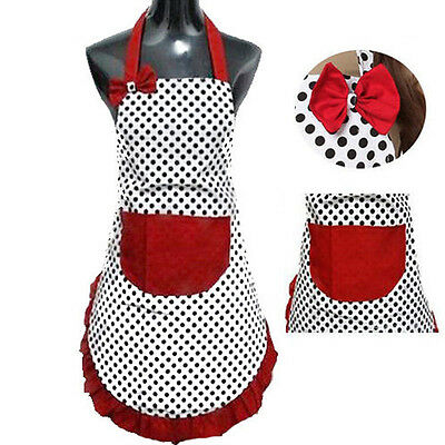 New Cute Kitchen Restaurant Dot Women Bib Cooking Aprons With Pocket Gift