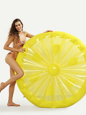 Large Giant Fruit Inflatable Lemon Water Float Pool Toy Ring Floatie  Swimming