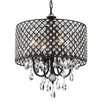 4 Light Antique Round Drum Crystal Chandelier Ceiling Fixture