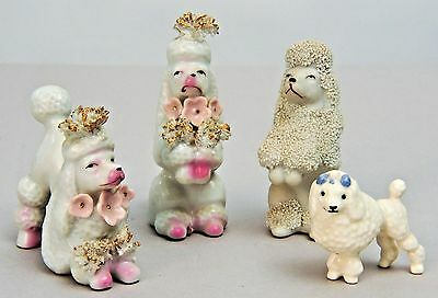 1950s French Poodles 4 Vintage Figurines Made in Japan