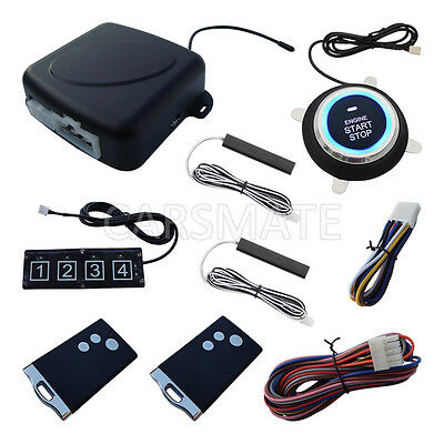 New RFID PKE Car Alarm Remote Engine Start Push Start Stop Car W Password Keypad