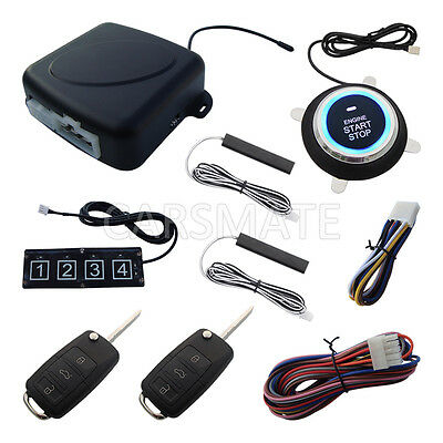 HAA Flip Key New PKE Car Alarm System W Password Keypad Remote Start Stop Engine