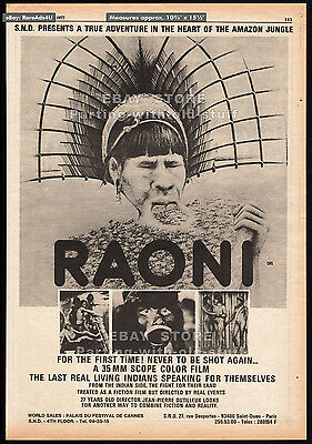 RAONI__Original 1977 Trade Print AD / poster__MARLON BRANDO__Amazon rain forest
