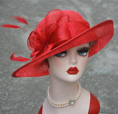 T156 Royal Ascot Ladies' Day Hats Womens Kentucky Derby Wide Brim Sinamay