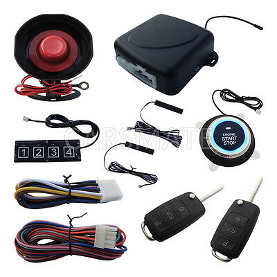 Upgrade PKE Car Alarm System Push Start Remote Start Stop Engine W HAA Flip Key