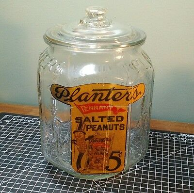 RARE 1920's-30's LARGE PLANTERS PEANUT JAR - WITH PENNANT PAPER LABEL USA