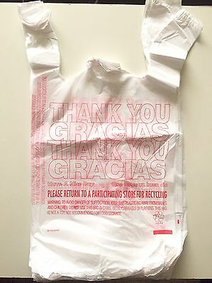 "50 T-SHIRT THANK YOU PLASTIC GROCERY BAGS 11.5"" X 21"" X 6.5"" #2 HDPE Recyclable"
