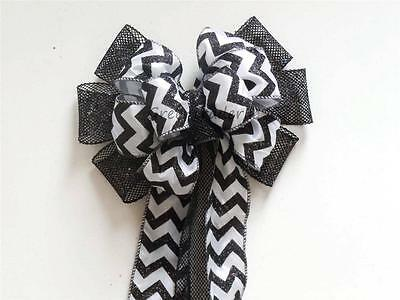 Black White Chevron Wedding Pew Bow Chevron Halloween Wreath Decoration Door