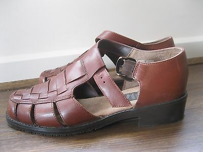 NWOT MIA 80s 90s LEATHER BROWN CAGE SHOES SANDALS 6.5